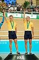231000 - Cycling track Darren Harry Paul Clohessy gold medal podium - 3b - 2000 Sydney podium photo.jpg