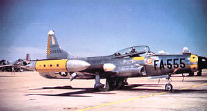 Griffiss Air Force Base - 27th Fighter-Interceptor Squadron Lockheed F-94C Starfire, AF Ser. No. 51-13555, circa 1955
