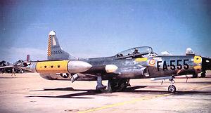 Griffiss Air Force Base - 27th Fighter-Interceptor Squadron Lockheed F-94C Starfire, AF Ser. No. 51-13555, circa 1955