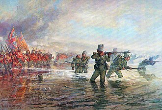 Battle of the Alma - 2nd Rifle Brigade leading the Light Division across the river at the Battle of the Alma on 20th September 1854 during the Crimean War