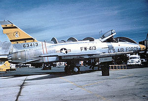 352d Tactical Fighter Squadron - 352d TFS North American F-100D Super Sabre 56-3413, about 1960.