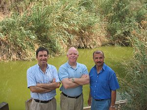 EcoPeace Middle East - The three co-directors of EcoPeace Middle East at the Jordan River. From left to right: Gidon Bromberg (Israel), Munqeth Mehyar (Jordan), Nader Al-Khateeb (Palestine)