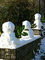 3 small snowmen on a wall, Outwood Lane, Christmas Day - geograph.org.uk - 1637204.jpg