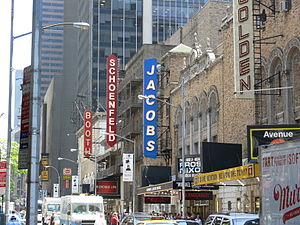 Bernard B. Jacobs Theatre - Bernard B. Jacobs Theatre, showing Frost/Nixon, and four other Broadway theatres in 45th street, 2007