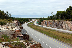 Ontario Highway 69 - Highway 69 looking northerly at Lovering Lake south of Highway 637