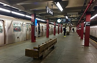 57th Street (IND Sixth Avenue Line) - The station in 2016, prior to renovations.