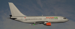 Computer-generated image of the flight, which was using an aircraft yet to be repainted in Adam Air's distinctive livery. Image: Anynobody.