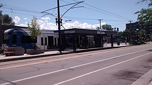 900 South (UTA station) - A train stopping at 900 South.