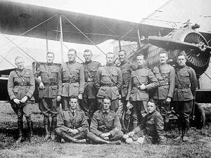 99th Aero Squadron - Pilots of the 99th Aero Squadron pose with a Salmson 2A2 at Parois Airdrome, France, November 1919