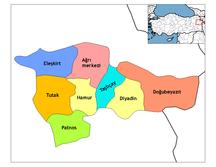 Provincia di Ağrı-Distretti-Ağrı districts