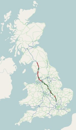 A6 road (England) - Image: A6 road map