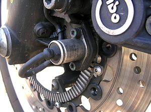 Anti-lock braking system for motorcycles - The ABS sensor of a BMW K 1100 LT