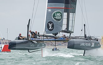 America's Cup World Series - Image: AC45f racing catamaran using hydrofoils, Land Rover BAR, July 24, 2016