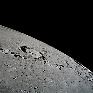 Eratosthenes (crater) - Eratosthenes (lower right of center) and surroundings from Apollo 17. NASA image.