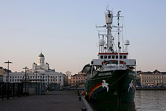Greenpeace - Greenpeace's ship MV Arctic Sunrise in the harbour of Helsinki.