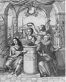 Two men kneel before a pillar with a bust of Charles II on it, an angel posing in the background. Scientific instruments, guns and books line the Romanic walls on either side of the engraving.