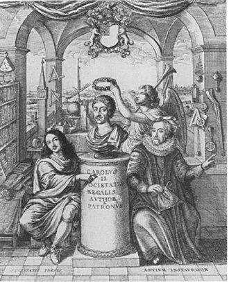 Thomas Sprat - Frontispiece to A History of the Royal Society, showing the crowning of King Charles II. Sir Francis Bacon is shown on the right; William Brouncker, 2nd Viscount Brouncker, the president of the Society, is on the left.