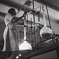 "A WORKER AT THE ""FRUTAROM"" CHEMICAL FACTORY IN HAIFA. תעשייה. בצילום, פועלת במפעל לכימיקלים ""פרוטרום"" בחיפה.D834-021.jpg"