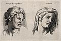 A face expressing 'simple bodily pain' (left) and a face (ri Wellcome V0009323.jpg