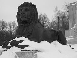 A lion in Mount Royal park in Winter