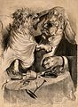 A little dog attacking the ear of a blood-hound; satirizing doctor-patient relationships Wellcome V0011618.jpg