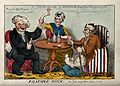 A man with gout seated at a table drinking with a parson and Wellcome V0010857.jpg