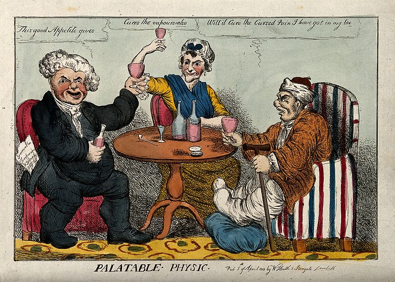 File:A man with gout seated at a table drinking with a parson and Wellcome V0010857.jpg