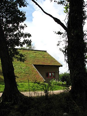 English: A modern house with a living roof The...