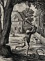 A peasant who was cutting down a tree turns his axe on a pas Wellcome V0022998.jpg