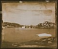 A view across a bay towards the Franklin search ships under Captain Belcher's command. RMG F6907-002.jpg
