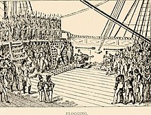 A sketch at the back of a sailing ship's top deck, showing a man tied up on a grate to be flogged for desertion; to the left overlooking the scene from the deck above are Marines in line with bayonets; crowded to the right are the ship's crew mustered to watch the punishment being administered.