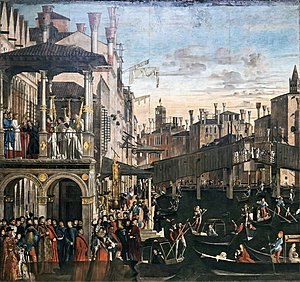 Miracle of the Relic of the Cross at the Ponte di Rialto - Image: Accademia Miracle of the Holy Cross at Rialto by Vittore Carpaccio