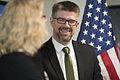 Acting Deputy Secretary of Defense Christine H. Fox, left, speaks with Icelandic Minister for Foreign Affairs Gunnar Bragi Sveinsson at the Pentagon in Arlington, Va., April 10, 2014 140410-M-EV637-195.jpg