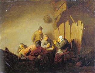 Peasants playing cards in an interior