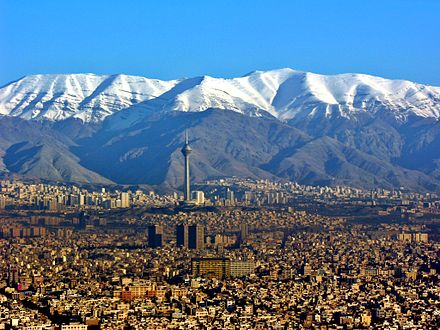 Tehran, capital and largest city of Iran, and the capital of the Persian empires in the last two centuries Aerial View of Tehran 26.11.2008 04-35-03.JPG