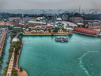 Resorts World Sentosa - Aerial perspective of Sentosa Island and Resort World Sentosa