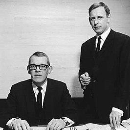 Oprichters Gerrit Daleboudt en Frits Goldschmeding (r) acht jaar na de start van hun onderneming