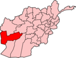 Map of Afghanistan with Farah فراه highlighted.