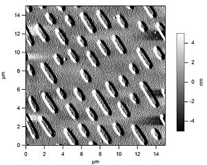 An atomic force microscope image of a surface of a CD-ROM
