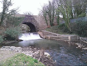 Afon Lwyd - The Afon Lwyd weir and fish leap at Pontymoile. The bridge carries the Monmouthshire and Brecon Canal.