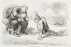 Opposition to World War I - After the War a Medal and Maybe a Job, antiwar cartoon by John French Sloan, 1914
