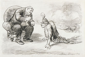 John French Sloan - After the War a Medal and Maybe a Job, anti-World War I political cartoon, 1914 (digitally restored)