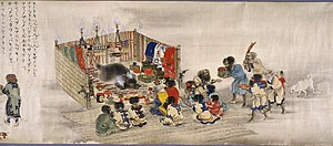 Animal worship - The Ainu Iomante ceremony (bear sending). Japanese scroll painting, circa 1870.