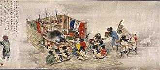 Animal worship - The Ainu Iomante ceremony (bear sending). Japanese scroll painting, circa 1870.