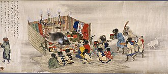 Bear worship - The Ainu Iomante ceremony (bear sending). Japanese scroll painting, circa 1870.