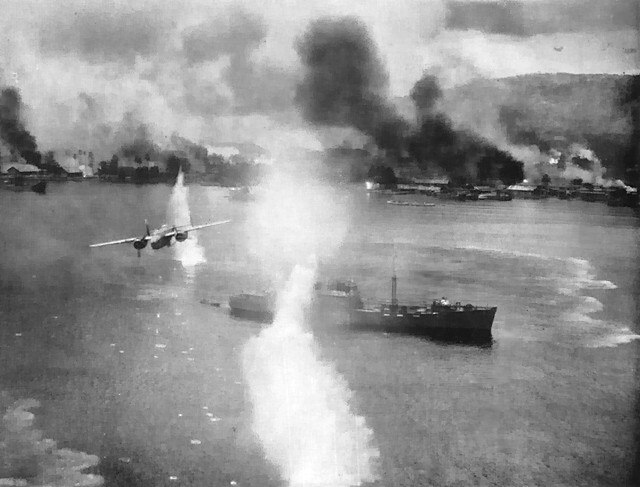Airraid at Rabaul Harbor