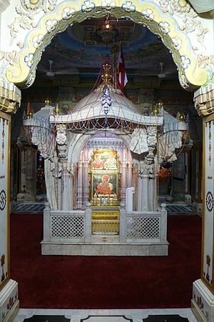 Gunatitanand Swami - The memorial shrine, known as the Akshar Deri, erected at the spot of Gunatitanand Swami's final rites in Gondal, Gujarat.