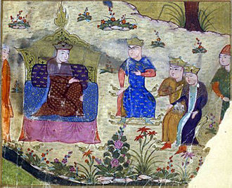 Bodonchar Munkhag - Butunchar (in blue) shown listening to his mother Alan Gua in a Persian painting from 1430.