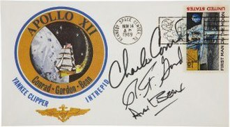 Apollo insurance covers - Alan Bean's Apollo 12 Insurance Cover, postmarked Nov. 14th 1969 and signed by Charles Conrad, Richard Gordon and Alan Bean