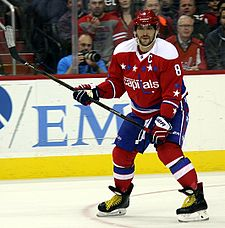 Ovechkin Awaits The Pass For A One Timer From His Left Wing Position During A Game In